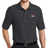 Charcoal Easycare Pique Polo-Hartford Hawks w/ Hawk Stacked