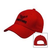 Red Heavyweight Twill Pro Style Hat-Hartford w/ Hawk Combination Mark