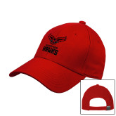 Red Heavyweight Twill Pro Style Hat-Hartford Hawks w/ Hawk Stacked