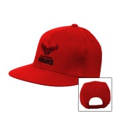 Red Flat Bill Snapback Hat-Hartford Hawks w/ Hawk Stacked