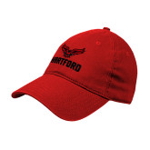 Red Twill Unstructured Low Profile Hat-Hartford w/ Hawk Combination Mark