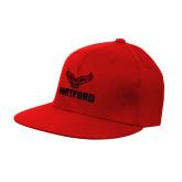Red OttoFlex Flat Bill Pro Style Hat-Hartford w/ Hawk Combination Mark