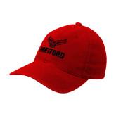 Red OttoFlex Unstructured Low Profile Hat-Hartford w/ Hawk Combination Mark