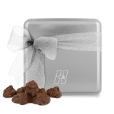 Decadent Chocolate Clusters Silver Medium Tin-Primary Logo Mark H Engraved