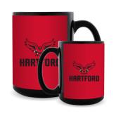 Full Color Black Mug 15oz-Hartford w/ Hawk Combination Mark