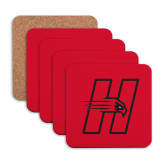 Hardboard Coaster w/Cork Backing 4/set-Primary Logo Mark H