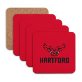 Hardboard Coaster w/Cork Backing 4/set-Hartford w/ Hawk Combination Mark