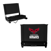 Stadium Chair Black-Hartford Hawks w/ Hawk Stacked