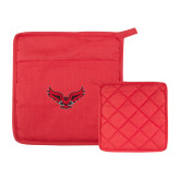 Quilted Canvas Red Pot Holder-Primary Logo Mark H