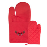 Quilted Canvas Red Oven Mitt-Primary Logo Mark H