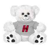 Plush Big Paw 8 1/2 inch White Bear w/Grey Shirt-Primary Logo Mark H