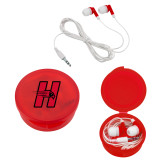 Ear Buds in Red Case-Primary Logo Mark H
