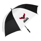 62 Inch Black/White Umbrella-Hartford Hawks w/ Hawk Stacked