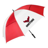 62 Inch Red/White Vented Umbrella-Hartford w/ Hawk Combination Mark