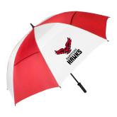 62 Inch Red/White Vented Umbrella-Hartford Hawks w/ Hawk Stacked