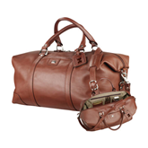 Cutter & Buck Brown Leather Weekender Duffel-Official Logo Engraved