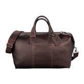 Kenneth Cole Columbian Leather Mahogany Weekender Duffel-Official Logo Debossed