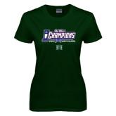 Big West Ladies Dark Green T Shirt-Big West Champions 2016 Hawaii Womens Volleyball