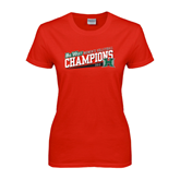 Big West Ladies Red T Shirt-2013 Volleyball Champions - Hawaii