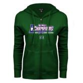 Big West ENZA Ladies Dark Green Fleece Full Zip Hoodie-Big West Champions 2016 Hawaii Womens Volleyball