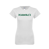 Next Level Ladies SoftStyle Junior Fitted White Tee-Hawaii