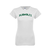Next Level Ladies SoftStyle Junior Fitted White Tee-Hawaii Arch