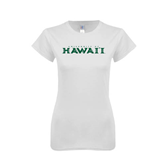 Next Level Ladies SoftStyle Junior Fitted White Tee-University Of Hawaii