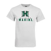 White T Shirt-Stacked Rainbow Wahine