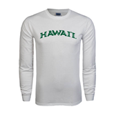 White Long Sleeve T Shirt-Hawaii Arch