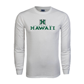 White Long Sleeve T Shirt-Stacked University of Hawaii