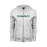 ENZA Ladies White Fleece Full Zip Hoodie-Hawaii