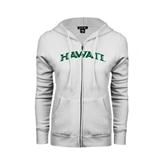 ENZA Ladies White Fleece Full Zip Hoodie-Hawaii Arch