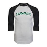 White/Black Raglan Baseball T-Shirt-Hawaii Arch