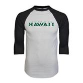 White/Black Raglan Baseball T-Shirt-University Of Hawaii