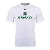 Under Armour White Tech Tee-Stacked University of Hawaii
