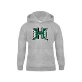 Youth Grey Fleece Hood-Official Logo
