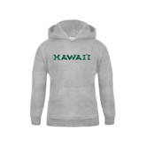 Youth Grey Fleece Hood-Hawaii