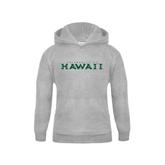 Youth Grey Fleece Hood-University Of Hawaii