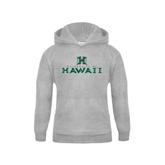 Youth Grey Fleece Hood-Stacked University of Hawaii