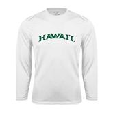 Performance White Longsleeve Shirt-Hawaii Arch