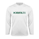 Performance White Longsleeve Shirt-University Of Hawaii