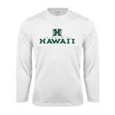 Performance White Longsleeve Shirt-Stacked University of Hawaii