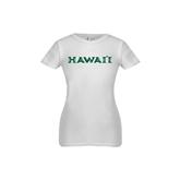 Youth Girls White Fashion Fit T Shirt-Hawaii