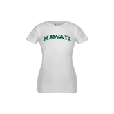 Youth Girls White Fashion Fit T Shirt-Hawaii Arch