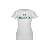 Youth Girls White Fashion Fit T Shirt-Stacked University of Hawaii