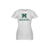 Youth Girls White Fashion Fit T Shirt-Stacked Rainbow Warriors