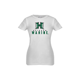 Youth Girls White Fashion Fit T Shirt-Stacked Rainbow Wahine