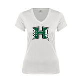 Next Level Ladies Junior Fit Ideal V White Tee-Official Logo