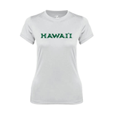 Ladies Syntrel Performance White Tee-Hawaii