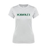 Ladies Syntrel Performance White Tee-University Of Hawaii